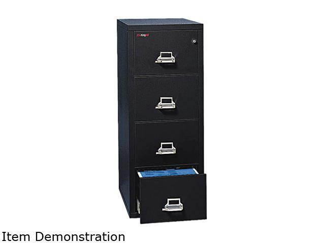 FireKing 42131CBL 4-Drawer Vertical File, 20-13/16w x 31-9/16d, UL 350° for Fire, Letter, Black
