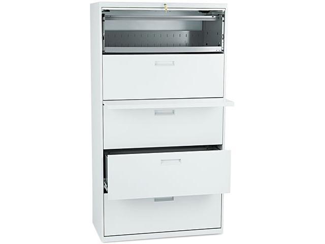 HON 585LQ 500 Series Five-Drawer Lateral File, 36w x67h x19-1/4h, Light Gray