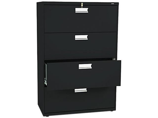 HON 684LP 600 Series Four-Drawer Lateral File, 36w x19-1/4d, Black