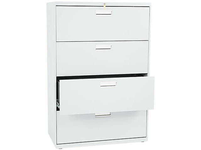 HON 684LQ 600 Series Four-Drawer Lateral File, 36w x19-1/4d, Light Gray