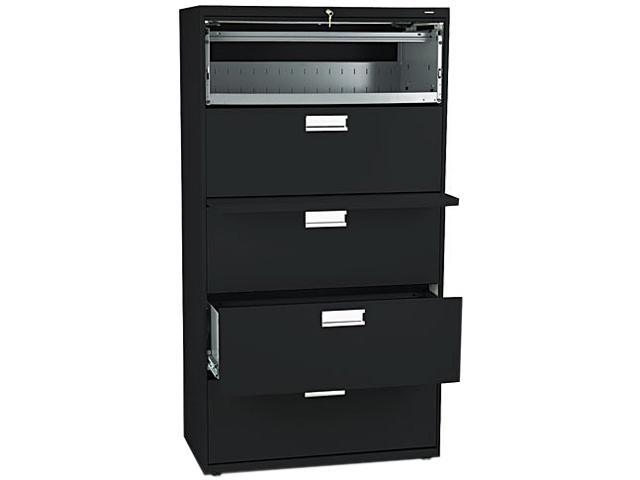 HON 685LP 600 Series Five-Drawer Lateral File, 36w x19-1/4d, Black