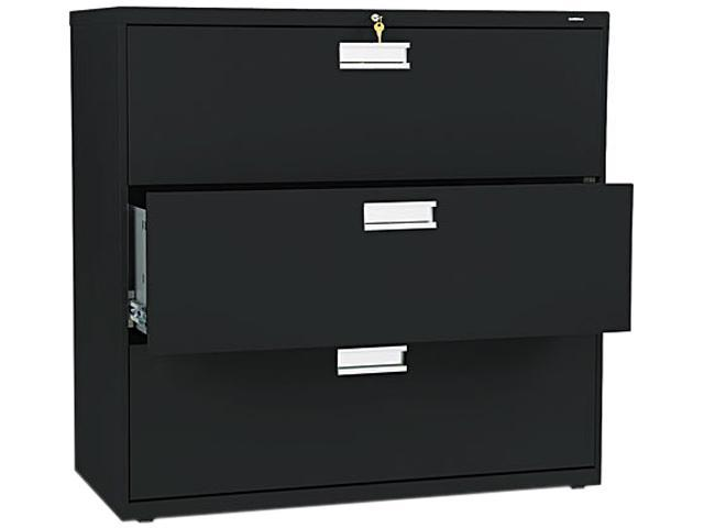 HON 693LP 600 Series Three-Drawer Lateral File, 42w x19-1/4d, Black