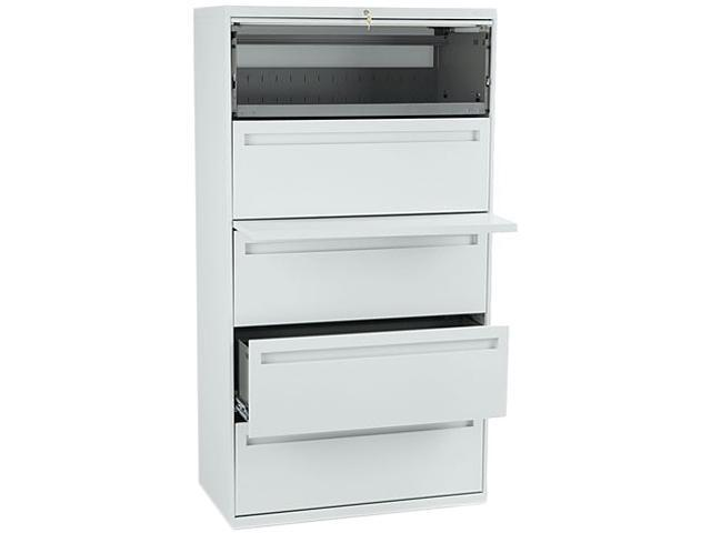 HON 785LQ 700 Series Five-Drawer Lateral File w/Roll-Out & Posting Shelf, 36w, Light Gray