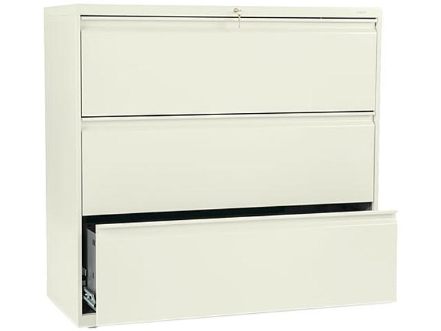 HON 893LL 800 Series Three-Drawer Lateral File, 42w x 19-1/4d x 40-7/8h, Putty