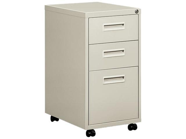 "Basyx 1600 Series Mobile Box/box/File Pedestal File w/""M"" Pull Drawers, 20d, Light Gray"