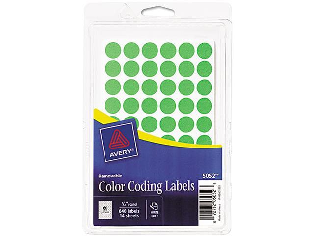 Avery 05052 Removable Self-Adhesive Color-Coding Labels, 1/2in dia, Neon Green, 840/Pack