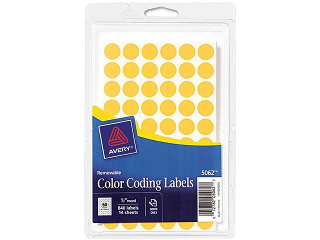 Avery 05062 Removable Self-Adhesive Color-Coding Labels, 1/2in dia, Neon Orange, 840/Pack