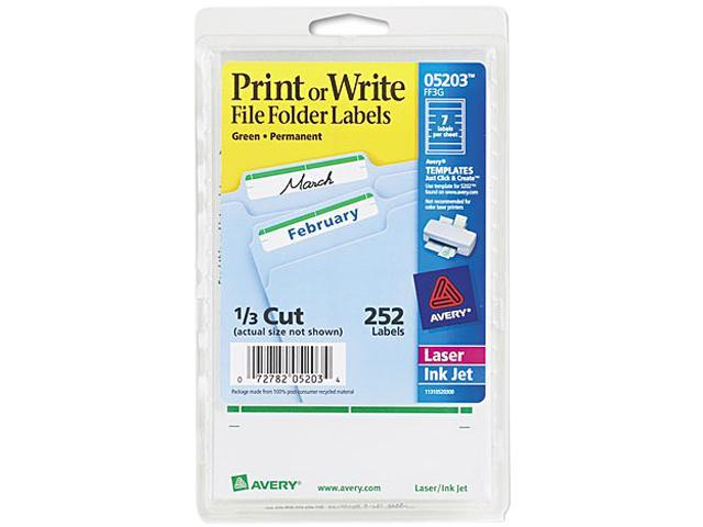 Avery 05203 Print or Write File Folder Labels, 11/16 x 3-7/16, White/Green Bar, 252/Pack