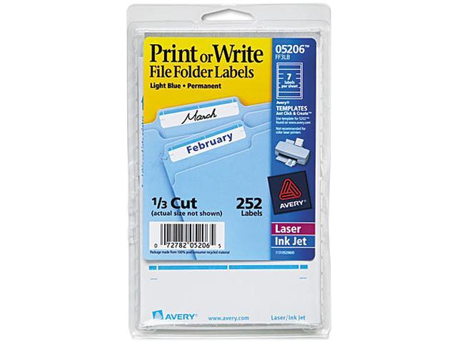 Avery 05206 Print or Write File Folder Labels, 11/16 x 3-7/16, WE/Light Blue Bar, 252/Pack