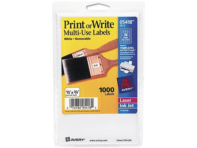 Avery 05418 Print or Write Removable Multi-Use Labels, 1/2 x 3/4, White, 1000/Pack