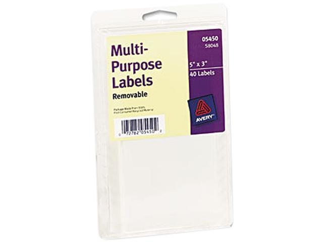 Avery 05450 Print or Write Removable Multi-Use Labels, 3 x 5, White, 40/Pack