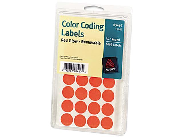 Avery 05467 Print or Write Removable Color-Coding Labels, 3/4in dia, Neon Red, 1008/Pack