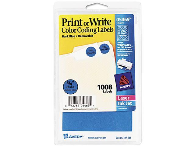 Avery 05469 Print or Write Removable Color-Coding Labels, 3/4in dia, Dark Blue, 1008/Pack