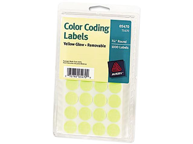 Avery 05470 Print or Write Removable Color-Coding Labels, 3/4in dia, Neon Yellow, 1008/Pack