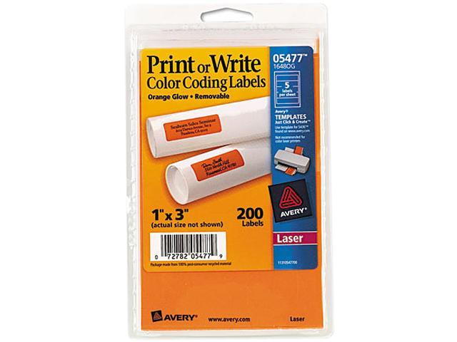Avery 05477 Print or Write Removable Color-Coding Laser Labels, 1 x 3, Neon Orange, 200/Pack