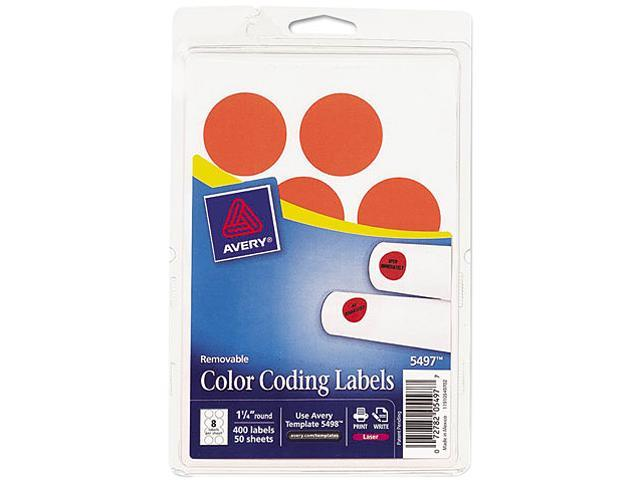Avery 05497 Print or Write Removable Color-Coding Labels, 1-1/4in dia, Neon Red, 400/Pack