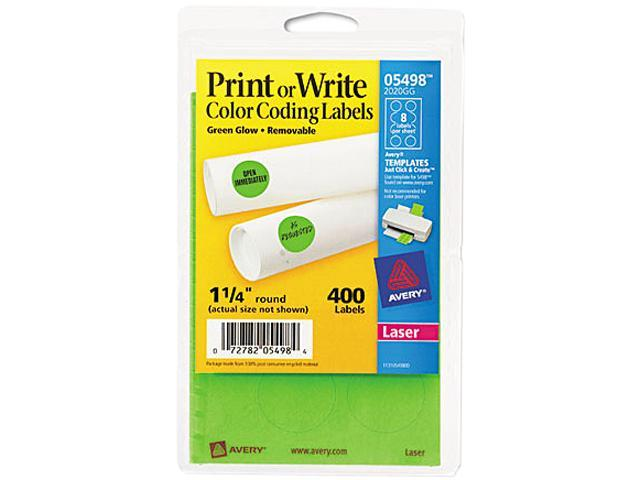 Avery 05498 Print or Write Removable Color-Coding Labels, 1-1/4in dia, Neon Green, 400/Pack