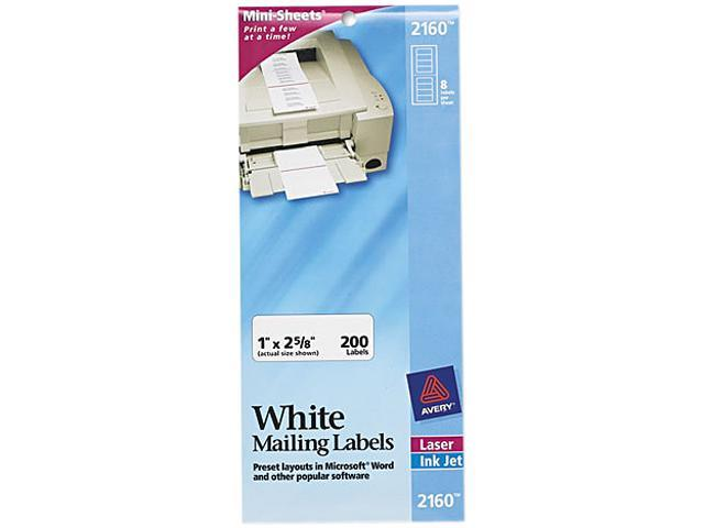 Avery 2160 Laser/Inkjet Mailing Labels, Mini-Sheet, 1 x 2-5/8, White, 200/Pack
