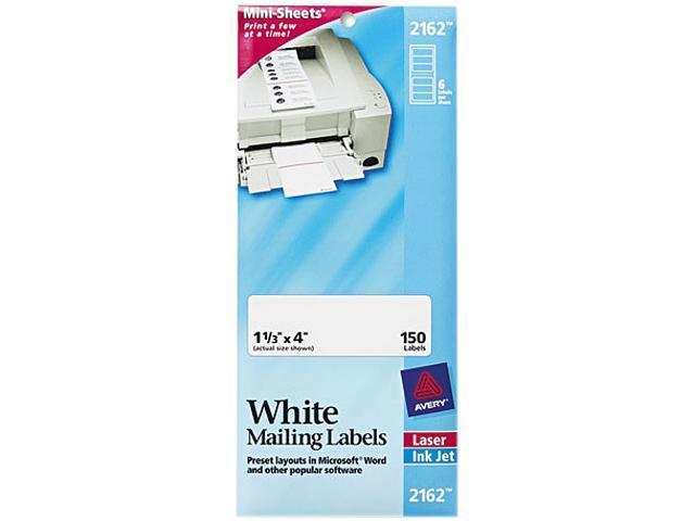 Avery 2162 Laser/Inkjet Mailing Labels, Mini-Sheet, Mini-Sheet, 1-1/3 x 4, White, 150/Pack