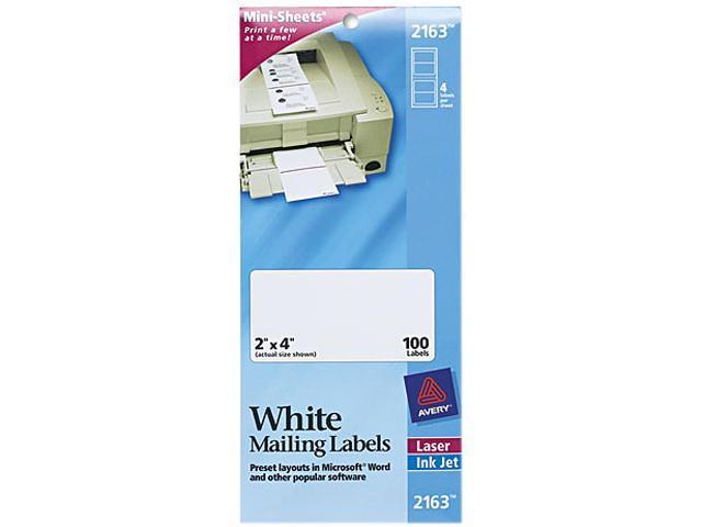 Avery 2163 Laser/Inkjet Mailing Labels, Mini-Sheet, Mini-Sheet, 2 x 4, White, 100/Pack