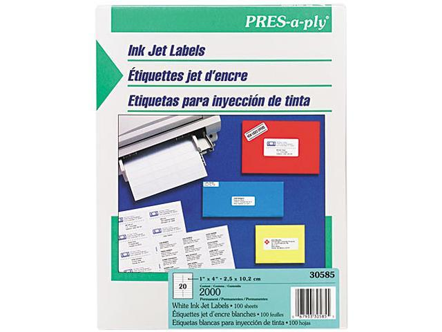 Avery 30585 Pres-A-Ply 20-Up Address Inkjet Labels, 1 x 4, White, 2000/Box