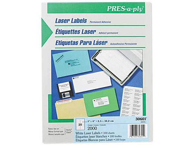 Avery 30601 Pres-A-Ply Laser Address Labels, 1 x 4, White, 2000/Box