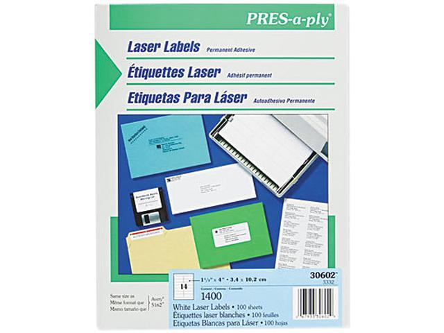 Avery 30602 Pres-A-Ply Laser Address Labels, 1-1/3 x 4, White, 1400/Box