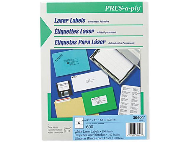 Laser Address Labels 3 1/3 x 4 White 600/Box