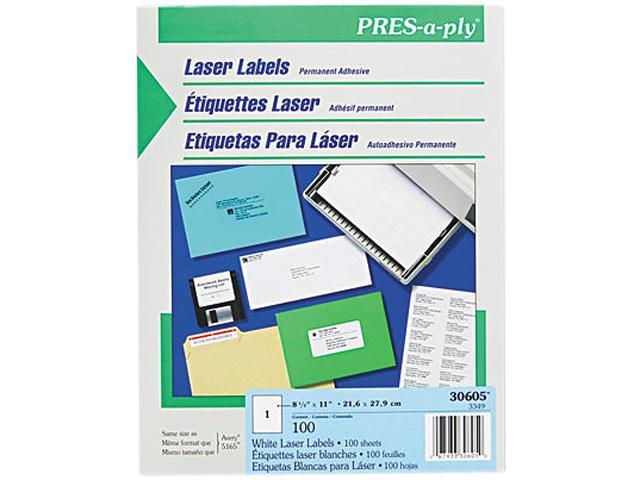 Avery 30605 Pres-A-Ply Laser Address Labels, 8-1/2 x 11, White, 100/Box