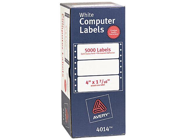Avery 4014 Dot Matrix Printer Address Labels, 1 Across, 1-7/16 x 4, White, 5000/Box