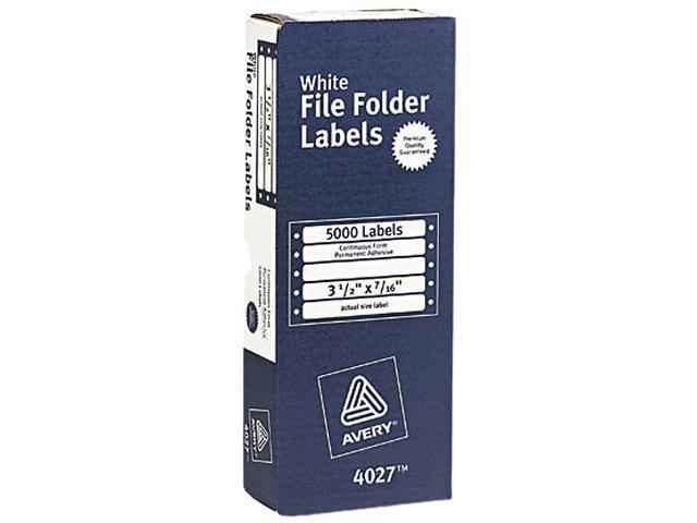 Avery 4027 Dot Matrix File Folder Labels, 7/16 x 3-1/2, White, 5000/Box