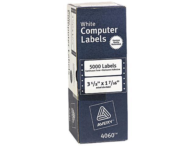 Avery 4060 Dot Matrix Printer Address Labels, 1 Across, 1-7/16 x 3-1/2, White, 5000/Box