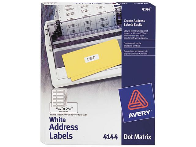 Avery 4144 Dot Matrix Printer Address Labels, 3 Across, 15/16 x 2-1/2, White, 3000/Box