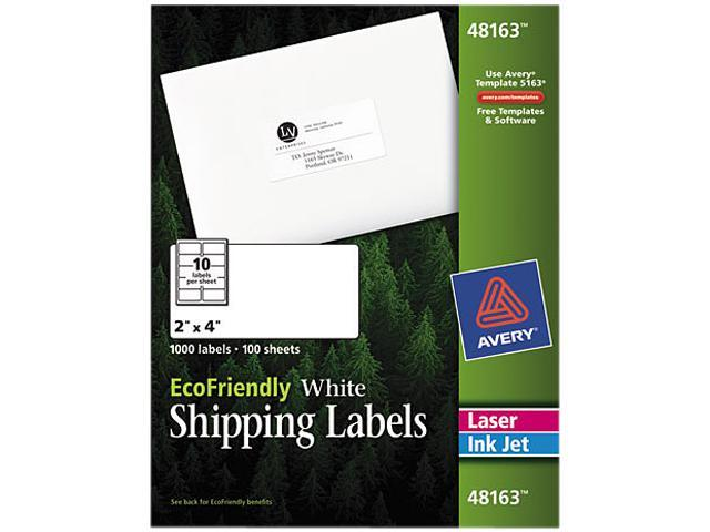 Avery 48163 EcoFriendly Labels, 2 x 4, White, 1000/Pack