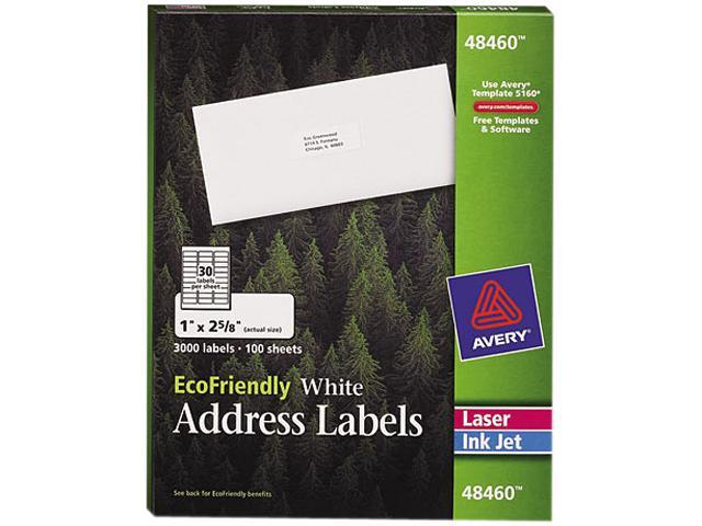 Avery 48460 EcoFriendly Labels, 1 x 2-5/8, White, 3000/Pack