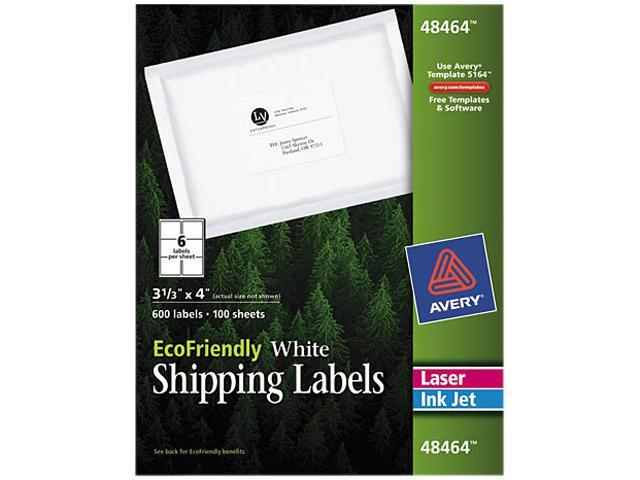 EcoFriendly Laser/Inkjet Mailing Labels 3 1/3 x 4 White 600/Pack