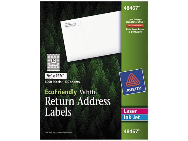 Avery 48467 EcoFriendly Labels, 1/2 x 1-3/4, White, 8000/Pack