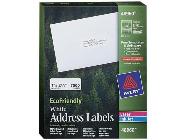 Avery 48960 EcoFriendly Labels, 1 x 2-5/8, White, 7500/Pack