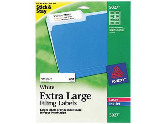 Avery 5027 Extra-Large 1/3-Cut Filing Labels, 15/16 x 3-7/16, White, 450/Pack