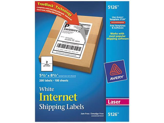 Shipping Labels w/Ultrahold Ad & Block Laser 5 1/2 x 8 1/2 White 200/Box