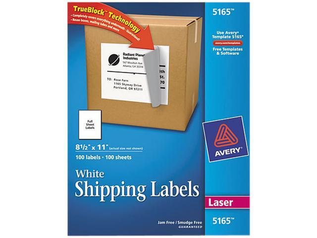 Avery 5165 Shipping Labels with TrueBlock Technology, 8-1/2 x 11, White, 100/Box