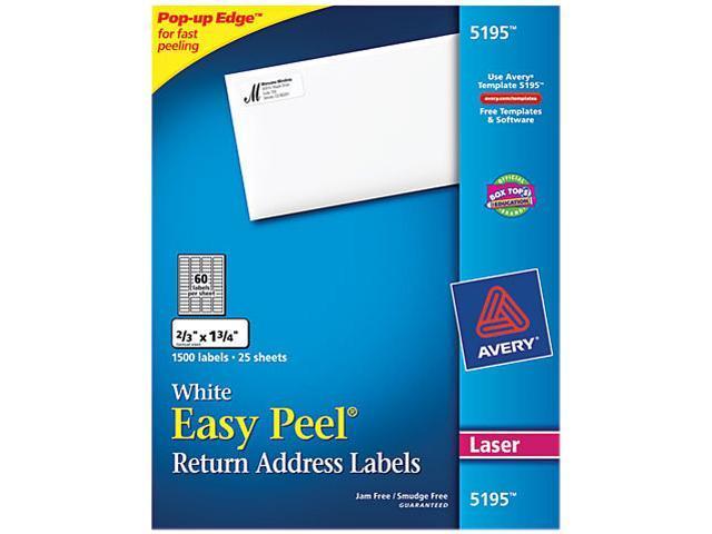 Avery 5195 Easy Peel Laser Address Labels, 2/3 x 1-3/4, White, 1500/Pack