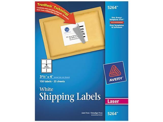 Shipping Labels w/Ultrahold Ad & Block Laser 3 1/3 x 4 White 150/Pack