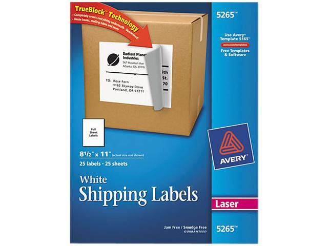Avery 5265 Shipping Labels with TrueBlock Technology, 8-1/2 x 11, White, 25/Pack