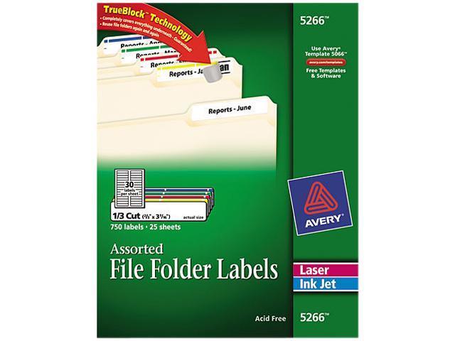 Permanent File Folder Labels Block Laser/Inkjet Assorted 750/Pack