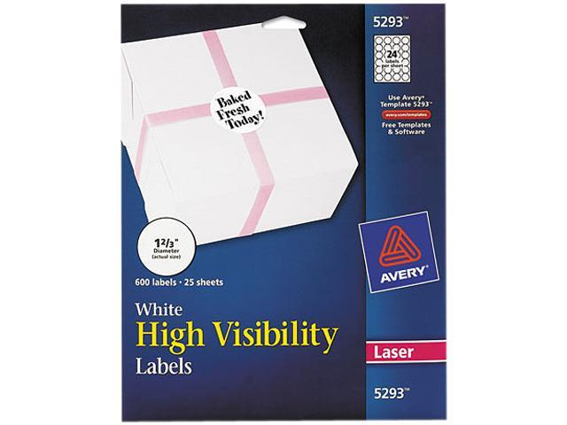 Avery 5293 High-Visibility Round Laser Labels, 1-2/3in dia, White, 600/Pack