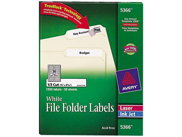 Avery 5366 Permanent Self-Adhesive Laser/Inkjet File Folder Labels, White, 1500/Box