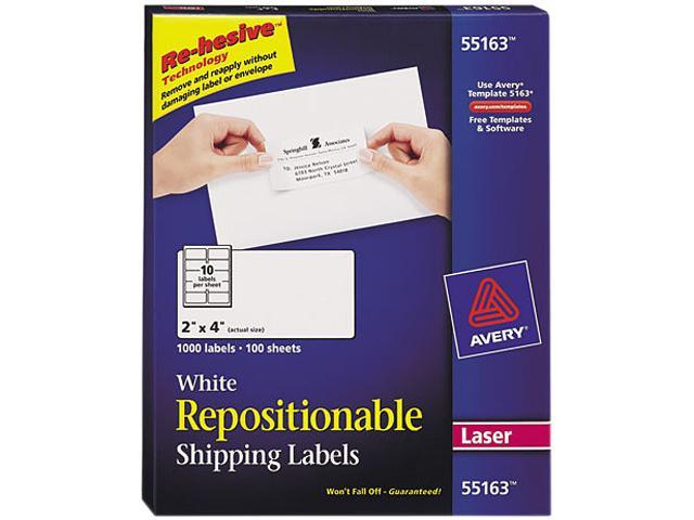 Avery 55163 Re-hesive Laser Labels, 2 x 4, White, 1000/Pack