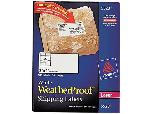 Avery 5523 White Weatherproof Laser Shipping Labels, 2 x 4, 500/Pack