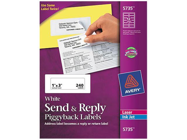 Avery 5735 Send & Reply Piggyback Inkjet/Laser Printer Labels, 1-5/8 x 4, White, 240/Pack
